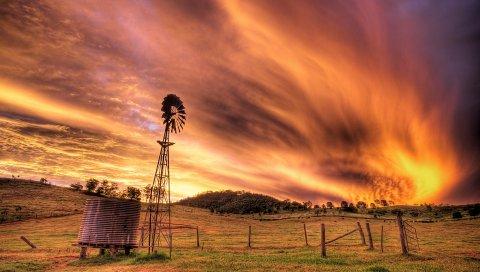 Небо, вечер, мельница, трансформатор, ток, поле, облака