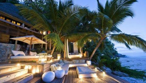 Загородный дом, побережье, интерьер, дизайн, взгляд, море