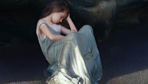 Искусство, девушка, маленькая девочка, рок, песок, сидение, сон, одежда, тень