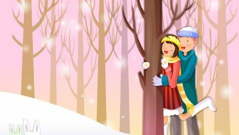 Пара, лес, снег, кролики, наблюдение