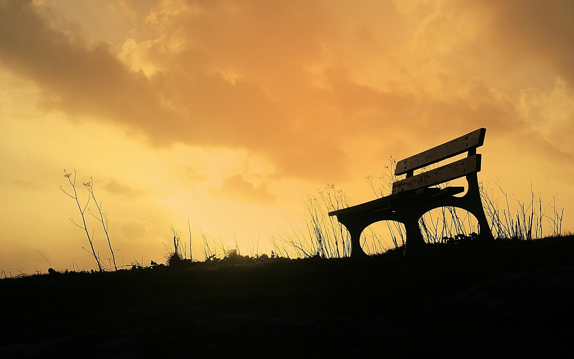 Картинки Скамейка, небо, трава фото и обои на рабочий стол