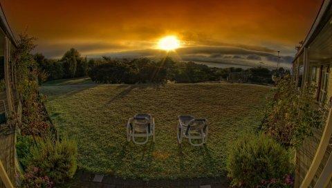 стулья, закат, цвет, краски, крыльцо, горизонт, оранжевый