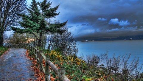 забор, парк, море, корабли, облачный