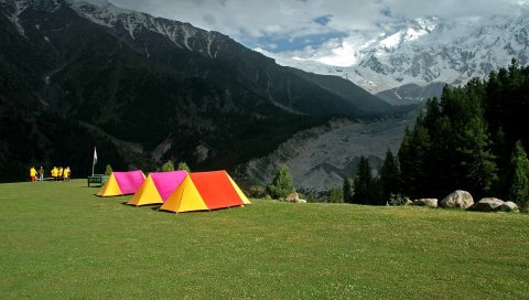Палатки, отдых, яркие, туристы, поляны, альпинисты