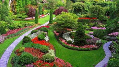 Сад, тропинки, цветы, деревья, трава, лужайка, ухоженные