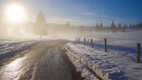 Дорога, асфальт, мокрый, утро, зима, туман, защита, рост