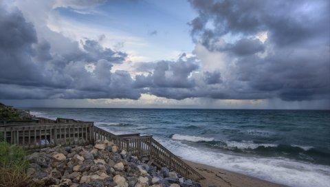 Спуск, лестница, поручень, побережье, скалы, облачно