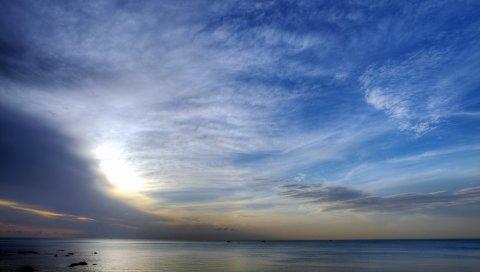 Облака, небо, плумоза, легко, воздух, узоры, фигуры, океан, поверхность, гладкая поверхность