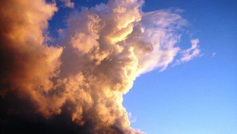Облака, объем, небо, сиреневый, синий, белый