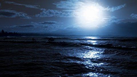 Луна, ночь, океан, берег, свет, серфер, очертания