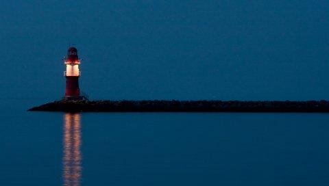 Маяк, ночь, свет, красный, одинокий