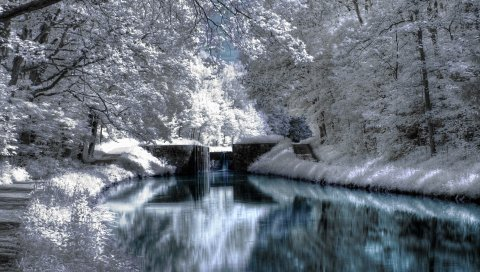 Зима, парк, падения, искусственные, тарелки, деревья, иней, седые волосы, озеро, отражение