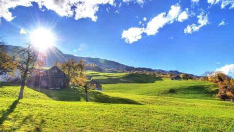 Солнце, свет, домик, поля, лужайки, склоны, лучи, осень, индийское лето, жара