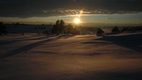 Снег, зима, закат, вечер, вуаль, ковер, сугробы, блеск, лучи