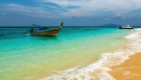 Лодка, берег, дерево, пена, песок, синяя вода, отдых, курорт, залив