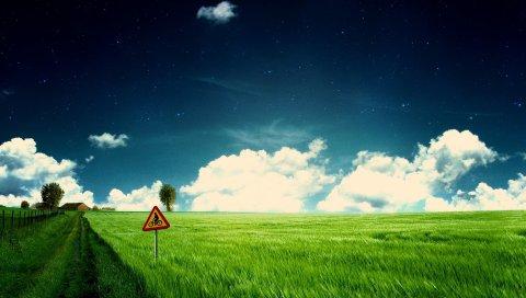 Поле, знак, защита, трава, зелень, велосипедист, облака, звезды