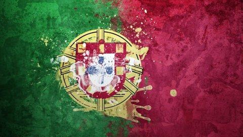 португалия, флаг, герб, республики, фон, текстура, символика
