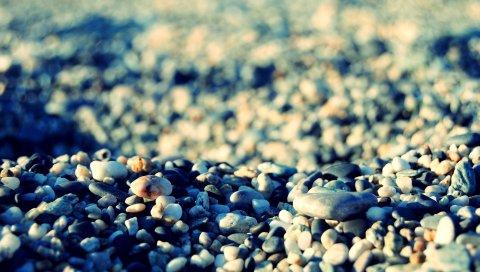 Камни, пляж, галька, тени, серый