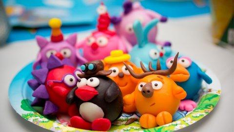 Игрушки, мультфильм, глина, дети
