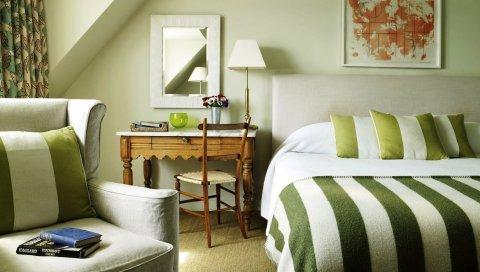 Комната, дизайн, интерьер, спальня, постельное белье