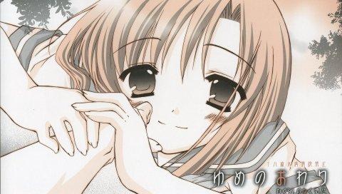Higurashi no naku koro ni, девушка, улыбка, рука
