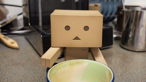 Danboard, коробки, робот, чашка, напиток, ожидание