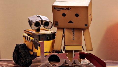 Danboard, wall-e, коробки, роботы, пара, любовь, негодование