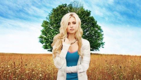 Блондинка, девушка, стиль, природа, фон, фотосессия