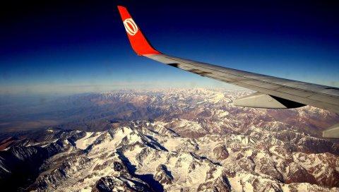 гор, полет, хребет, высота, крыло, самолет, красные