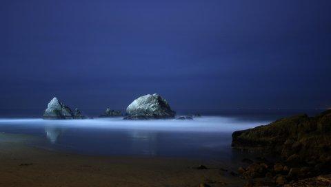 берег, камни, туман, вечер, выпаривание, белый, свечение