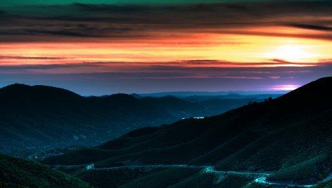 закат, небо, горы, дорога, отводы, повороты, оранжевый, сумерки, спуск