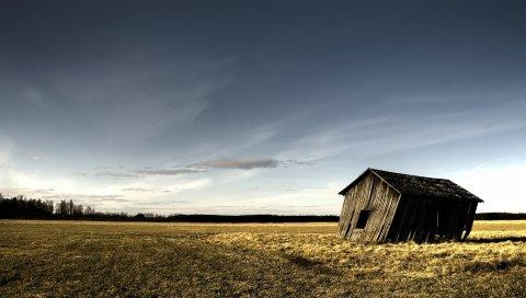 будка, руины, деревянное, поле, одинокая, осень