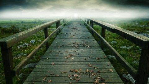 Мост, путь, доски, листья, туман, неопределенность