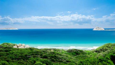 Голубая вода, остров, расстояние