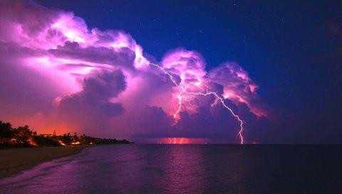 Молния, элементы, берег, ночь, звезды, облака, ясно, небо