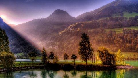 Солнце, лучи, озеро