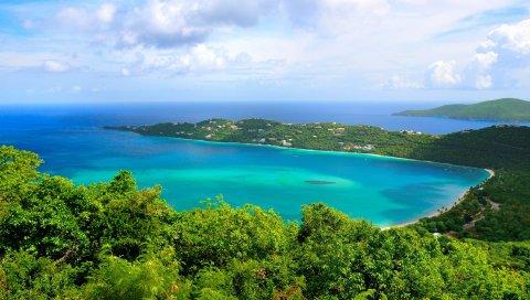 Берег, океан, высота, земля, остров, море, ясно, голубая вода