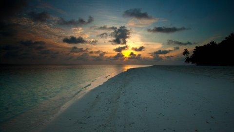 Отток, вечер, спад, берег, пляж, песок, мрачный, сумерки