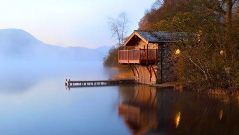 Озеро, домик, причал, пирс, утро, свет, лампы, побережье