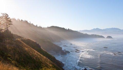 Солнце, свет, берег, лучи, море