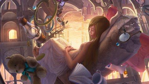 Искусство, девушка, сюрреалистический, сон, игрушка, медведь, зеркало, книга, ламповые бусины, арка, замок