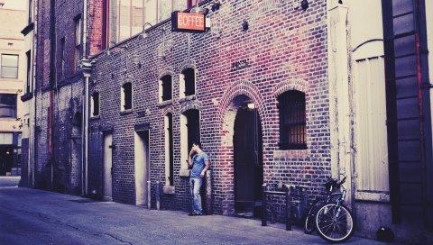 Здания, люди, улица, аллея