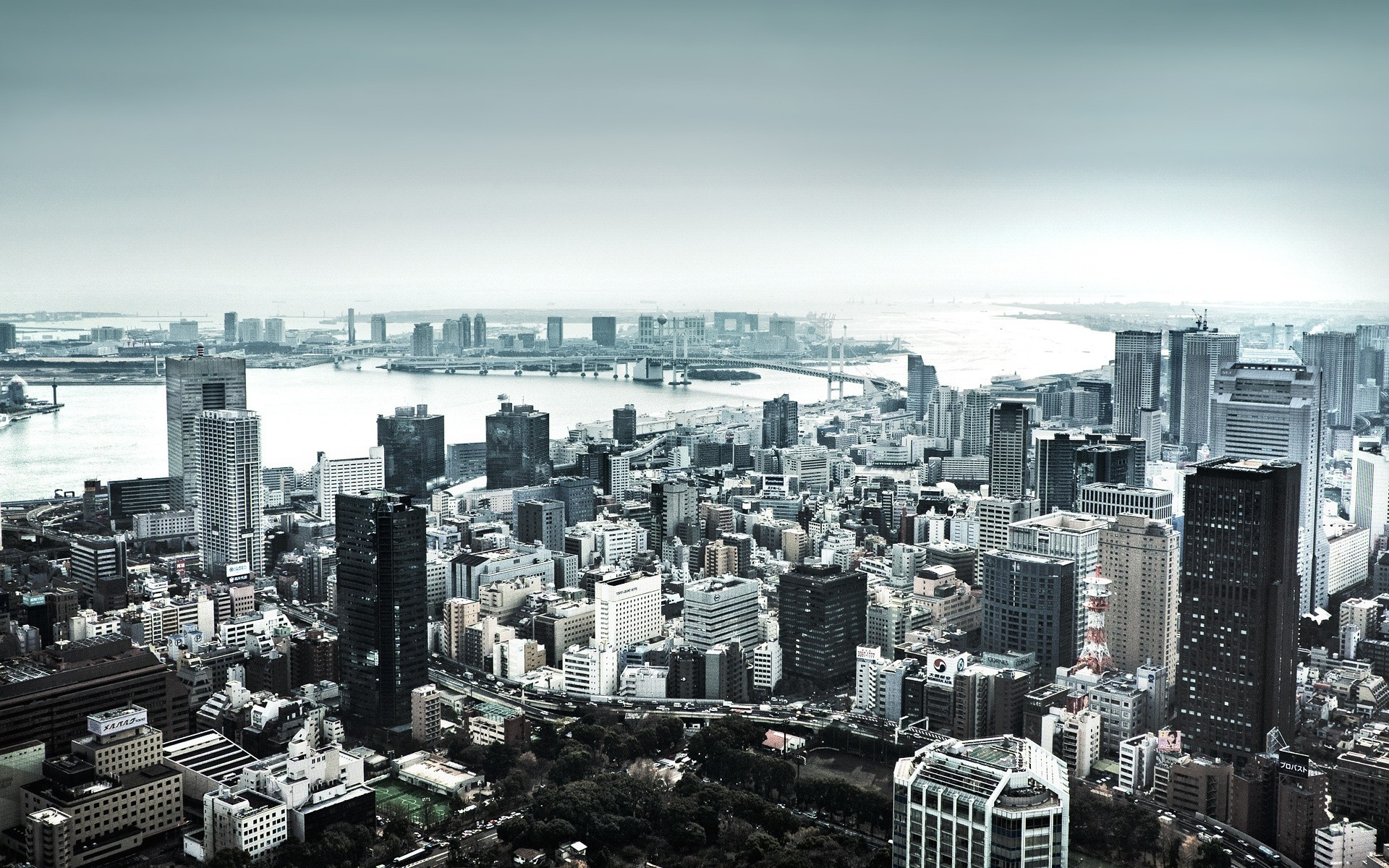 Картинки Небоскребы, дома, река, вид сверху, панорама, город, черно-белый фото и обои на рабочий стол