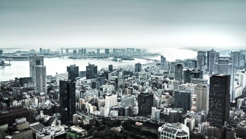 Небоскребы, дома, река, вид сверху, панорама, город, черно-белый
