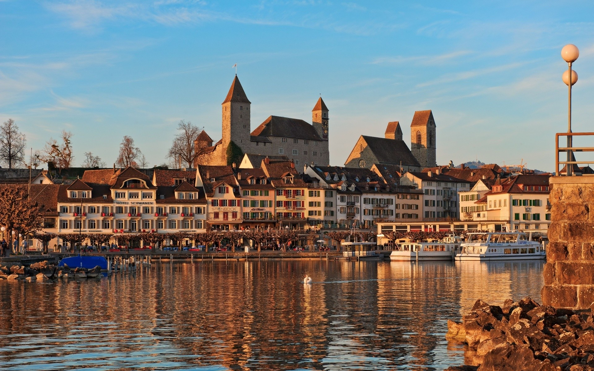 Картинки Аскона, Швейцария, река, пляж, здания, люди, пирс фото и обои на рабочий стол