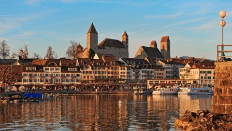 Аскона, Швейцария, река, пляж, здания, люди, пирс