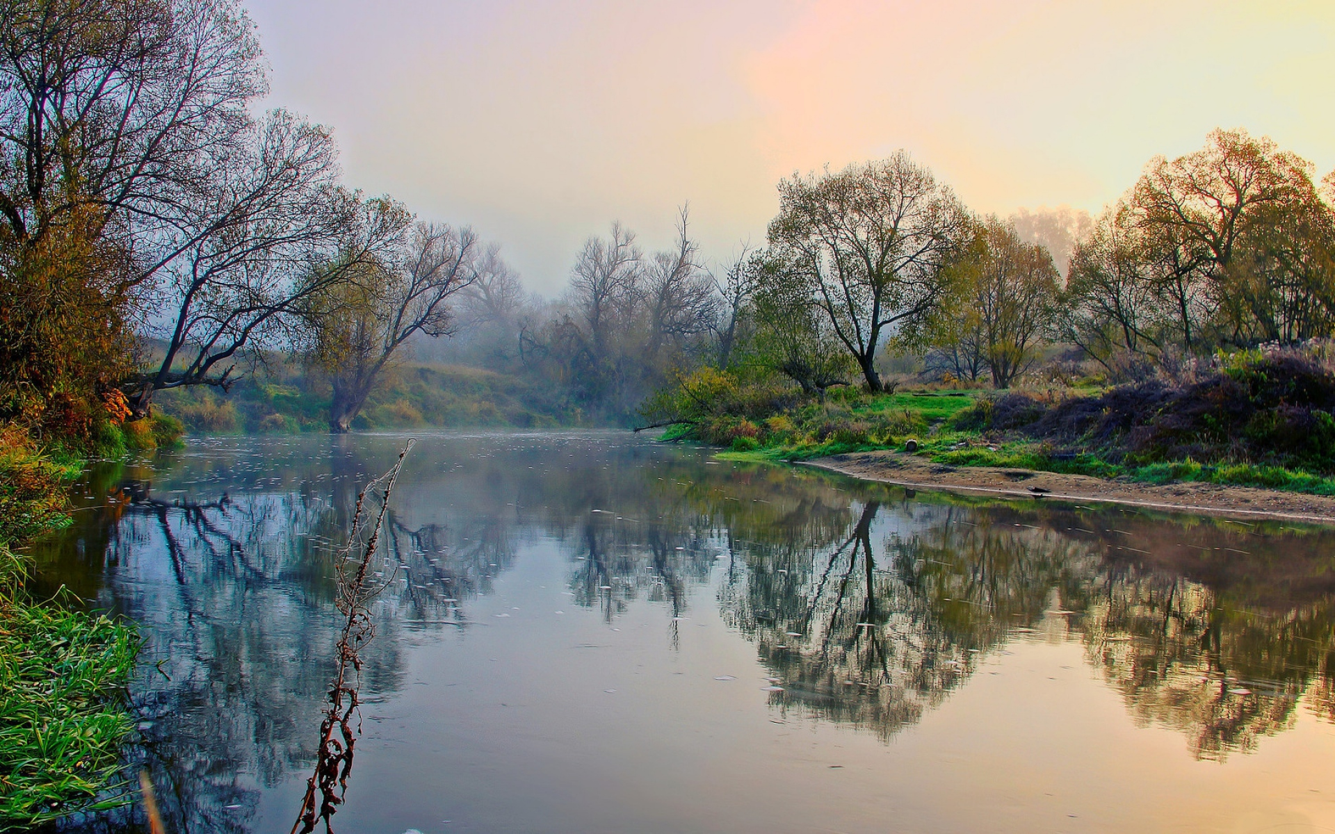 Туман вдоль реки  № 1281335  скачать