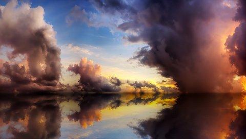 Небо, озеро, вода, элементы, слияние, облака