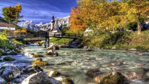 Горная река, храм, мост, живопись, искусство blakey