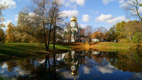 Храм, церковь, святыня, купол, озеро, осень, петербург